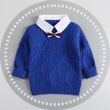 Одежда для маленьких мальчиков теплый свитер с лацканами детский