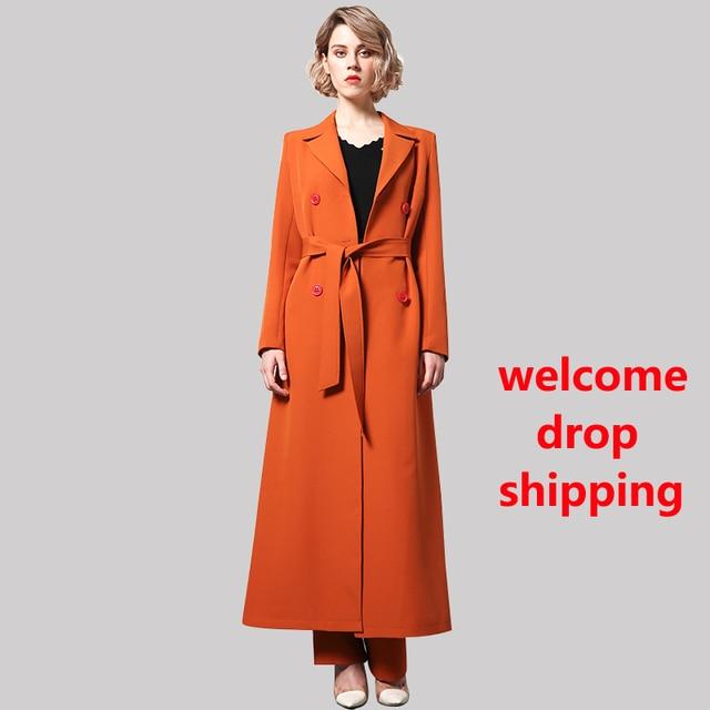 Hiver Manteau Orange Style Femmes Britannique Ol Df Laine Long Col A7rxTwAqE