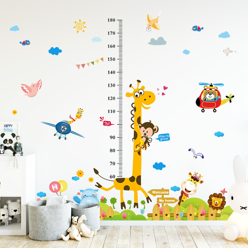 New Cartoon children boy baby height sticker giraffe animal height feet wall stickers bedroom decoration wallpaper self adhesive in Wallpapers from Home Improvement