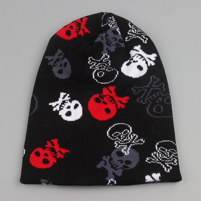 personalized gifts winter accessory skull and crossbones beanie various  pattern knit hats black one size fits 504627a823ab