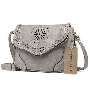 Image 2 - Annmouler Brand New Crossbody del Sacchetto Dellunità di Elaborazione Donne di Cuoio Satchel Bag Scava Fuori Il Sacchetto di Spalla Nero Vintage Borse Messenger Bag