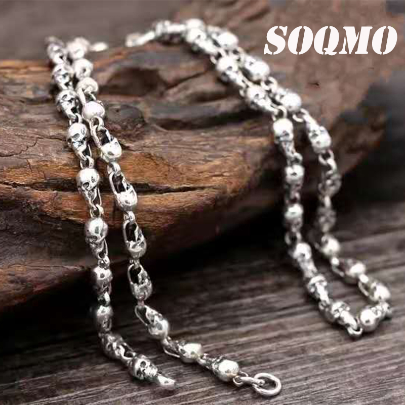 SOQMO New Arrival Skull with silver chain 100% 925 sterling silver necklace pendant for women and men fine jewelry Hot Sale fashionable skull and dagger shape embellished trouser chain for men