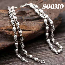 SOQMO New Arrival Skull with silver chain 100% 925 sterling silver necklace pendant for women and men fine jewelry Hot Sale banbu new arrival 925 sterling silver necklaces jewelry polishing process plate gold necklace women hot sale best gift for girls
