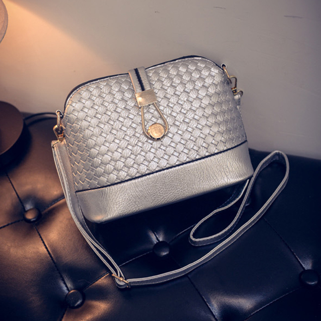 2017 New Fashion Women Shoulder Shells Woven Bag PU Leather Satchel Hobo Messenger Bag Handbag High Quality P342 Free Shipping