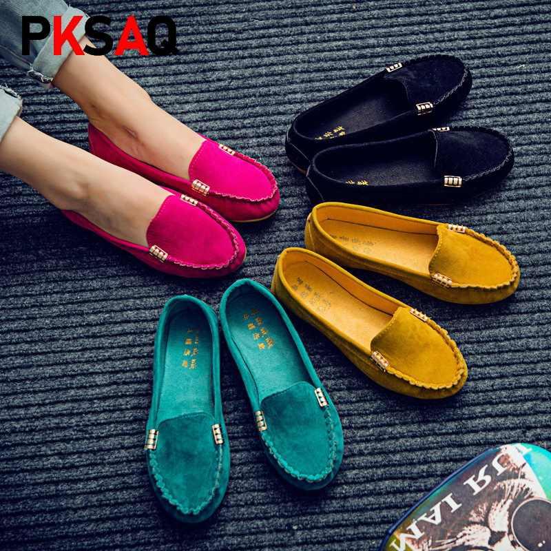 Femmes chaussures plates 2019 grande taille 35-43 mocassins couleur bonbon sans lacet chaussures plates ballerines confortables dames chaussure