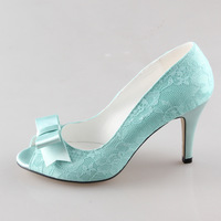 Handmade Mint Light Green Lace Heels Sweet Bow Pumps Bridal Wedding Shoes Party Prom Event Custom