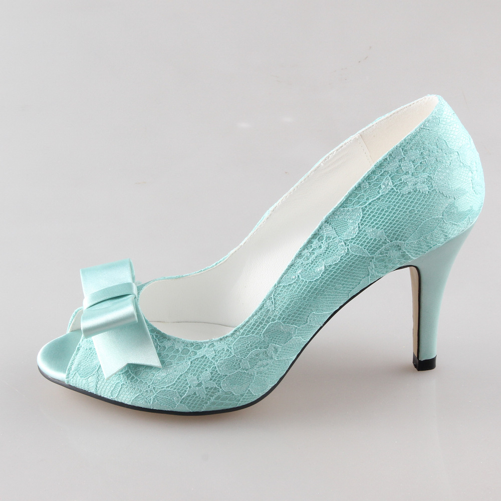 Handmade mint light green lace heels sweet bow pumps bridal wedding ...
