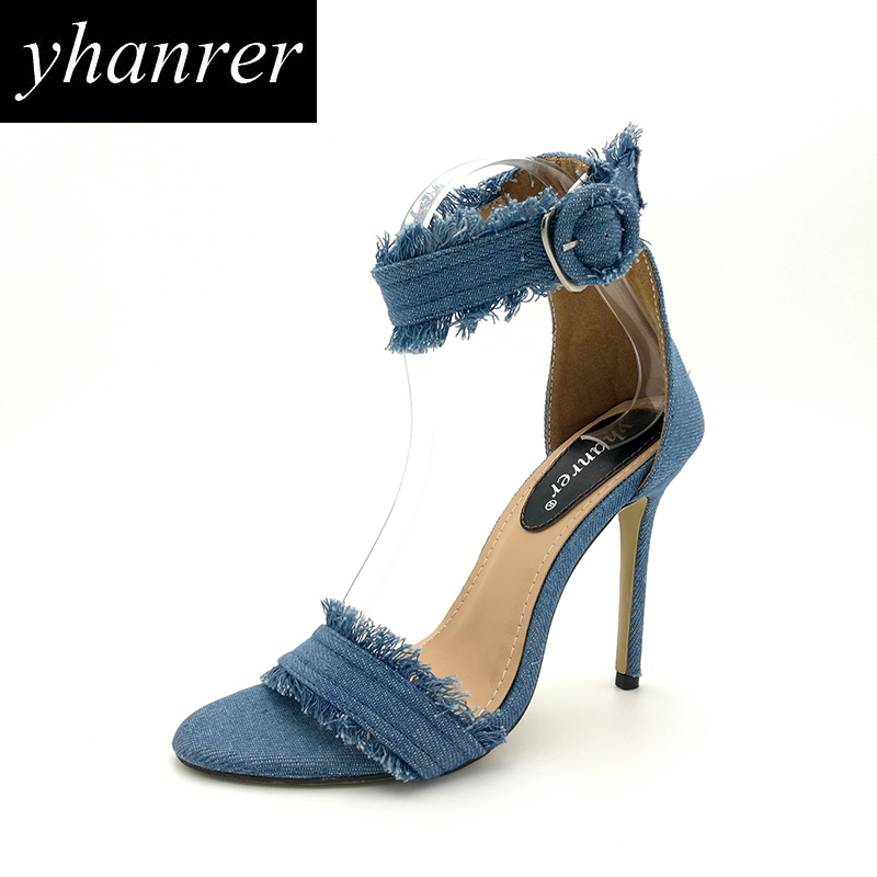 2017 Summer New Women Denim Sandals Fringe High Heels Fashion Tassel Ladies Party Stiletto Shoes Heeled 11cm K229  new pompom wild thing fringe suede sandals women summer wlegance