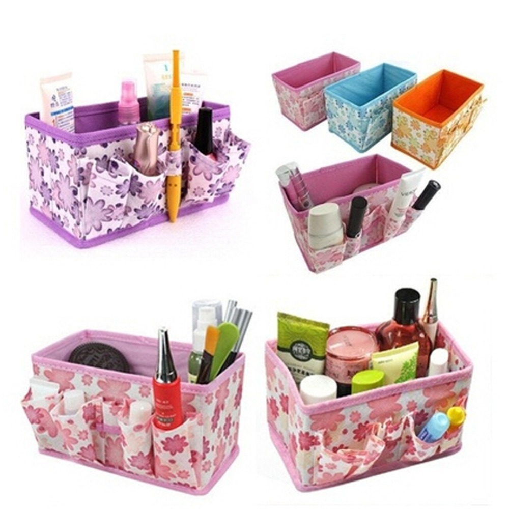 Foldable Cosmetic Storage Box Makeup Organizer Desktop Jewelry Box Small Objects Pouch Multifunctional Office Basket Container