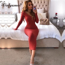 Colysmo V-Neck Sexy Ribbed Autumn Dress Long Sleeve Winter Women Elegant Knitted Bodycon Party Skinny Ladies Dresses