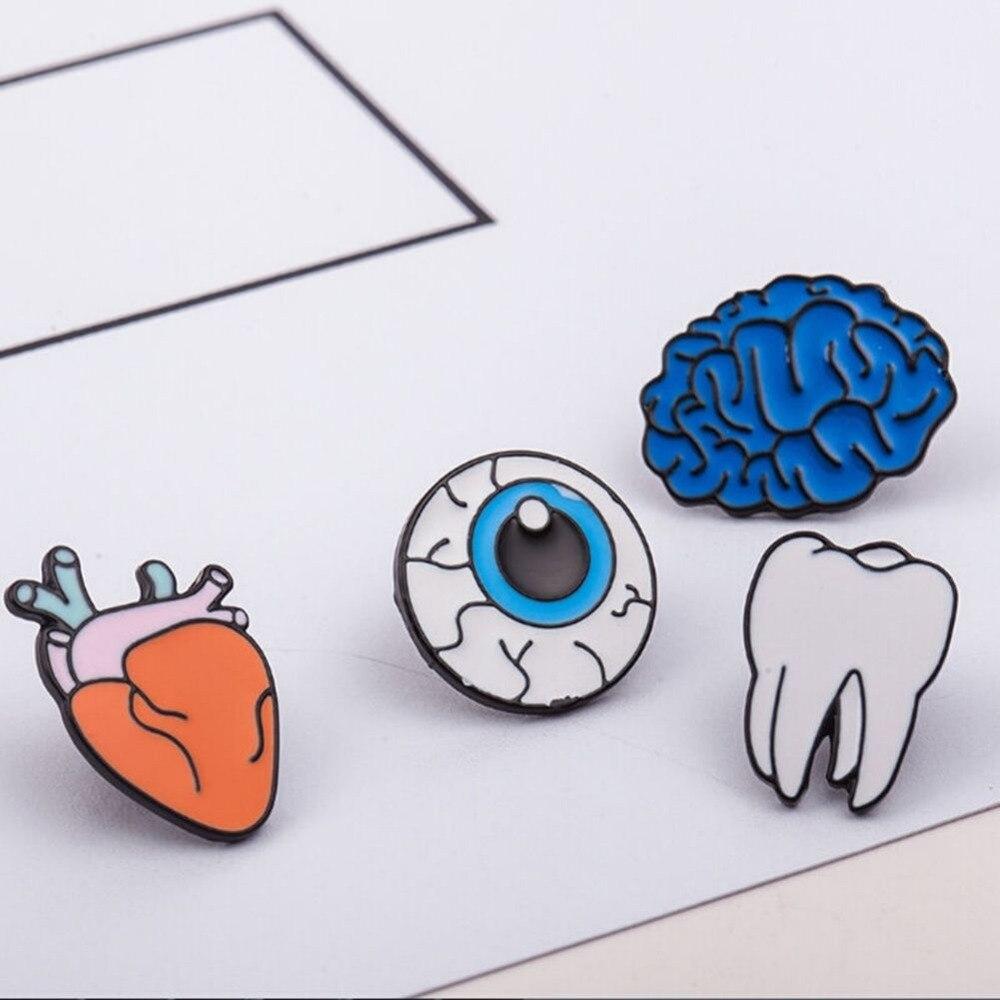 1/4 Pcs Cute Creative Lovely Collar Pin Badge Corsage Cartoon Human Body organs Brooch Jewelry 4 Style