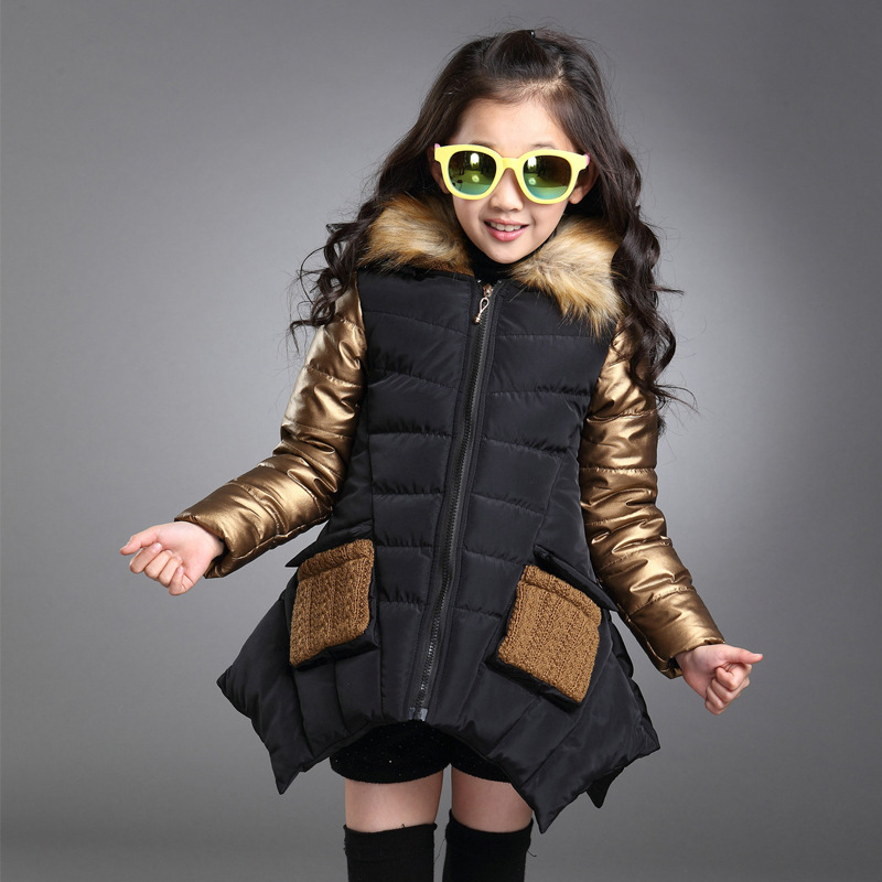 все цены на Girl's Fashion Patchwork Faux Fur Hooded Pockets Asymmetrical Down Coats Children Gold Color Thick Warm Long Parkas Outwear Kids