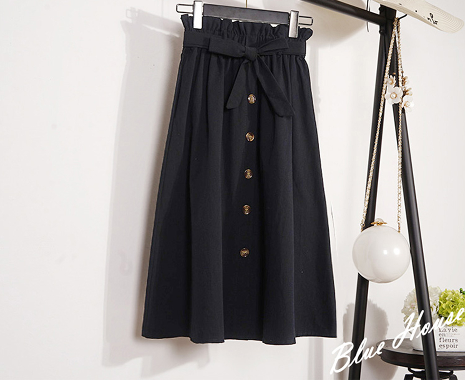 Gogoyouth Summer Skirts Womens 2018 New Midi Knee Length Korean Elegant Button High Waist Skirt Female Pleated Sun School Skirt 20