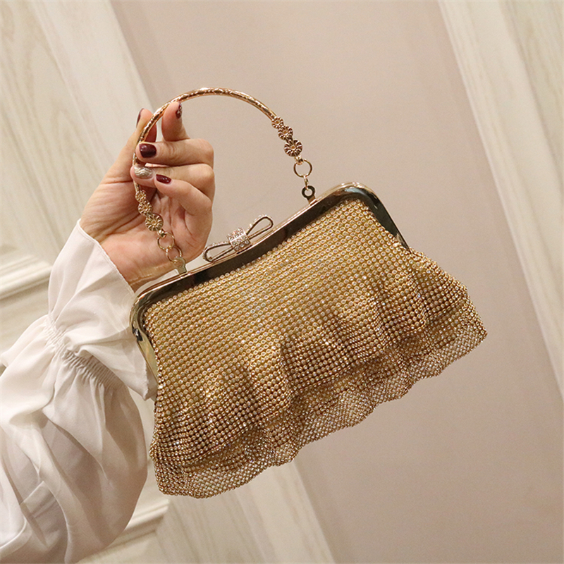 Women Bags Crystal Totes Handbags Retro Bow Tie Gold Evening Bags Luxury Wedding Bride Metal Chain Ladies Crossbody Shoulder Bag