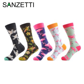 SANZETTI 5 Pair/Lot Novelty Men's Fashion Flamingo Pattern Combed Cotton Socks Colorful Crew Funny Male Dress Wedding Socks