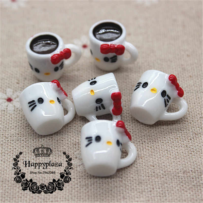 10pcs 3D Kawaii Resin Hello Kitty Cup Simulation Miniature Art Flatback Cabochon DIY Craft Decoration,13*14*18mm