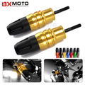 2 pcs new gold crash pads de escape da motocicleta sliders bater protector para kawasaki z1000 z1000sx 2013-2015
