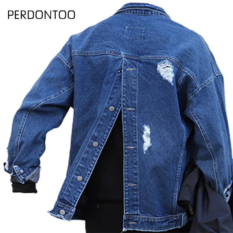 PERDONTOO CWHAT Store 2017 Fashion Mens Oversized Jean Jacket Blue Harajuku Japanese Style Ripped Denim Jacket Men Buttoned At Back