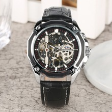 2019 New Mechanical Watch Man Automatic Self-Wind Fashion Leisure Leather Band Mens Creative Dial Luxury reloj hombre