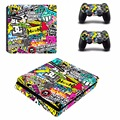 Colorful Graffiti Vinyl PS4 Slim Skin Film Protector Sticker Cover Decals for Playstation 4 PS4 Slim S Console and 2 controller