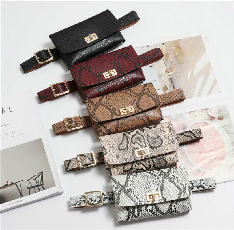 Fashion Snake Belt Bag Women's Mini Waist Bag PU Leather Leisure Travel Fanny Pack