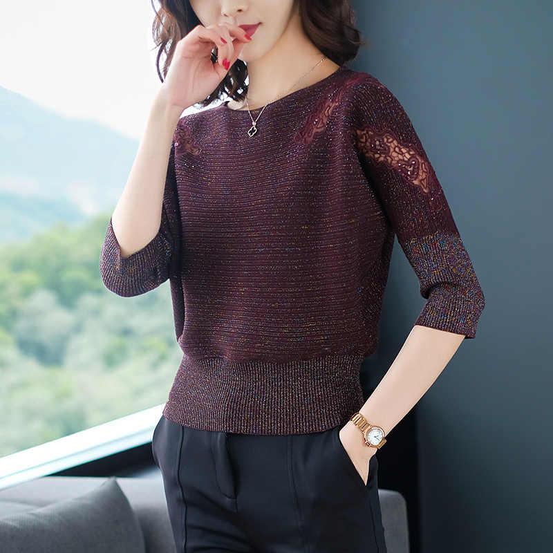 YISU suéteres mujer 2019 primavera señora suéter de punto moda media manga suelta de encaje hueco suéter suelto Mujer