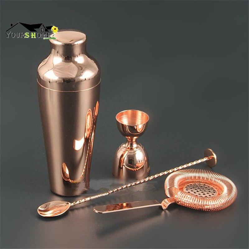 Ensemble de barres: ensemble de Barware en cuivre plaqué or de première qualité-Kit de barman de 4 pièces comprenant un agitateur, un gabariseur, une crépine et une cuillère