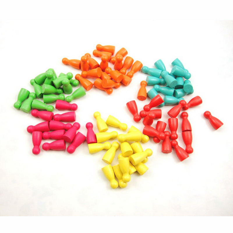 30Pcs 2.9*1.3cm Wooden Pawn Chess Pieces For Board Games/Card Game Accessories 29mm 6 Colors