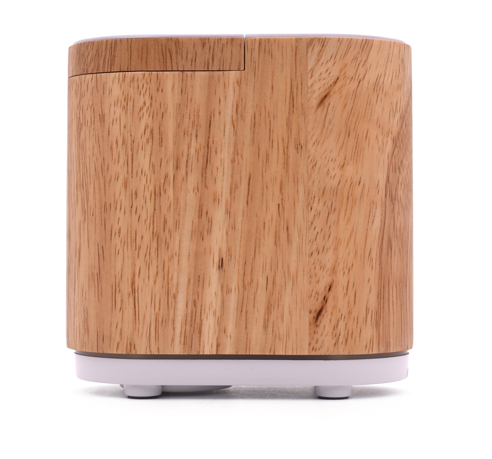 Wood-grain Infrared Induction Smiley Daisy Nebulizing Oil Diffuser-Variety Timer Settings-Aluminum Base with Empty Bottle