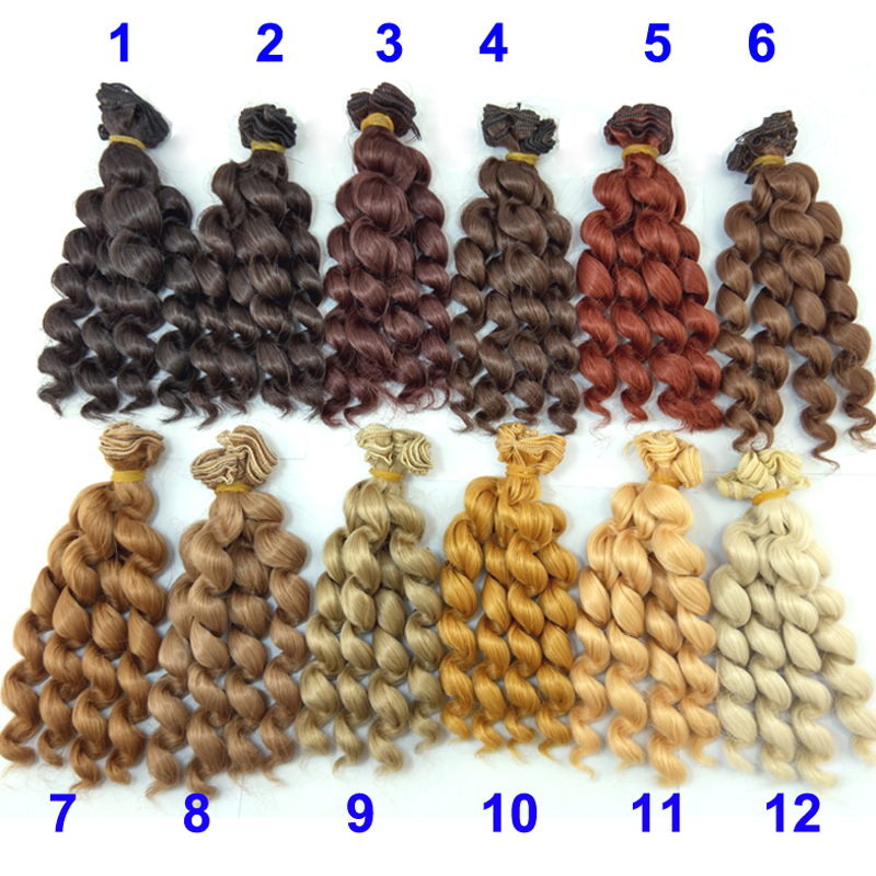 6 or 12 pieces/lot 15cm x 100cm brunette blonde coffee black brown natural color curly doll wigs hair for 1/3 1/4 1/6 BJD SD diy