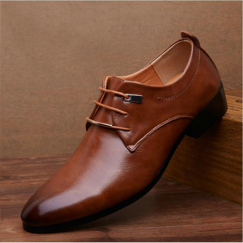 2019 Hot Sell Mens Leather Shoes Men's Dress Shoes British Style Lace Up Pointed Toe Low Top Flats 2 Colors Big Size Jkm8