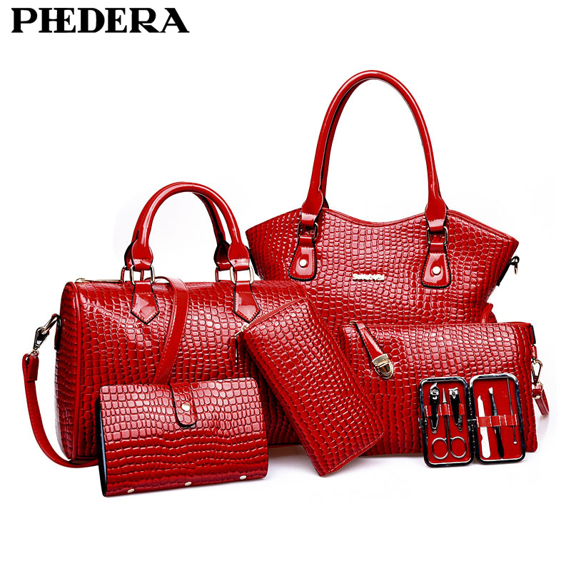 6 PCS/Set New Fashion Women Handbag Crocodile Pattern Composite Bag Women Shoulder Bags PU Leather Ladies Bags Set Wholesale fashion style women crocodile pattern doctor women backpack famous bags women s pu leather rucksack bag z762