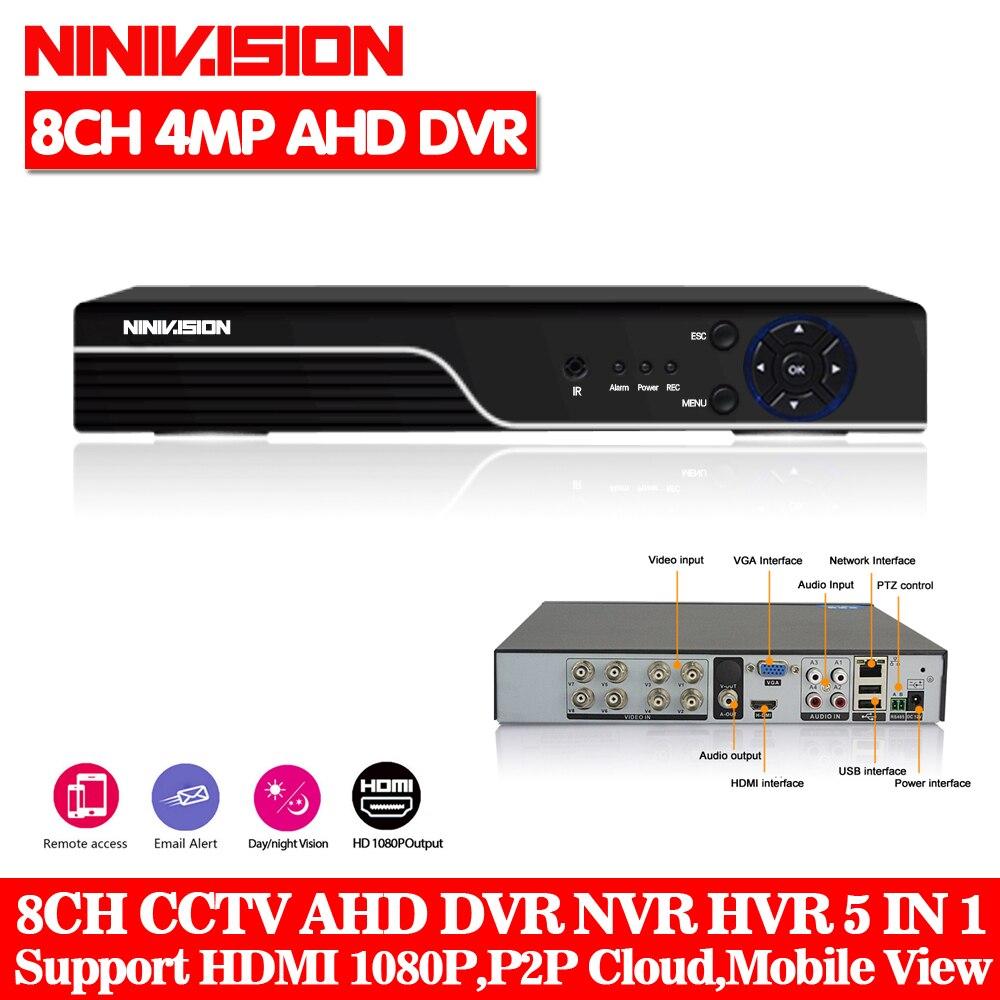 5 EM 1 4MP 4Ch 8Ch XVR CCTV AHD DVR NVR 1080 P 3MP 5MP Híbrido Gravador DVR Da Câmera de Segurança onvif RS485 Coxal Controle P2P Nuvem