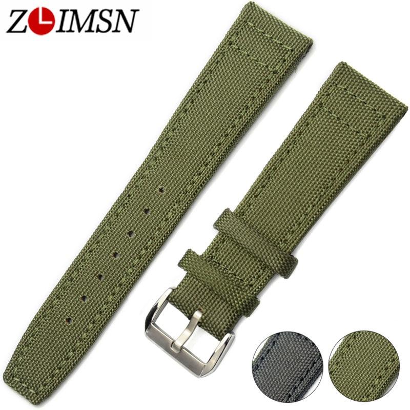 ZLIMSN Nylon Bands Leather Bottom Men Women Watch Bands Replacement 20 22mm Watchbands Green Black Stainless Steel Pin Buckle