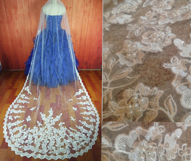 In Stock one layer white ivory lace edge Pearls Appliques bridal veils Cathedral length long wedding veils bridal accessories