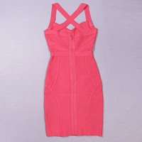 Free Shipping New Arrival Sexy Rosy Halter Neck Cross Back HL Bandage Cocktail Party Dress 3