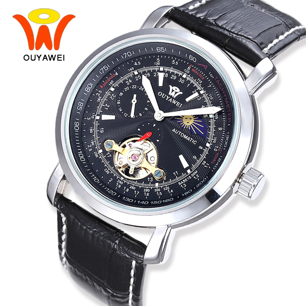 OUYAWEI Black Tourbillon Moon Phase Automatic Mechanical Wrist Watch Men Flywheel Leather Watches Reloj Hombre Automatico 2017 patek philippe sky moon tourbillon в самаре