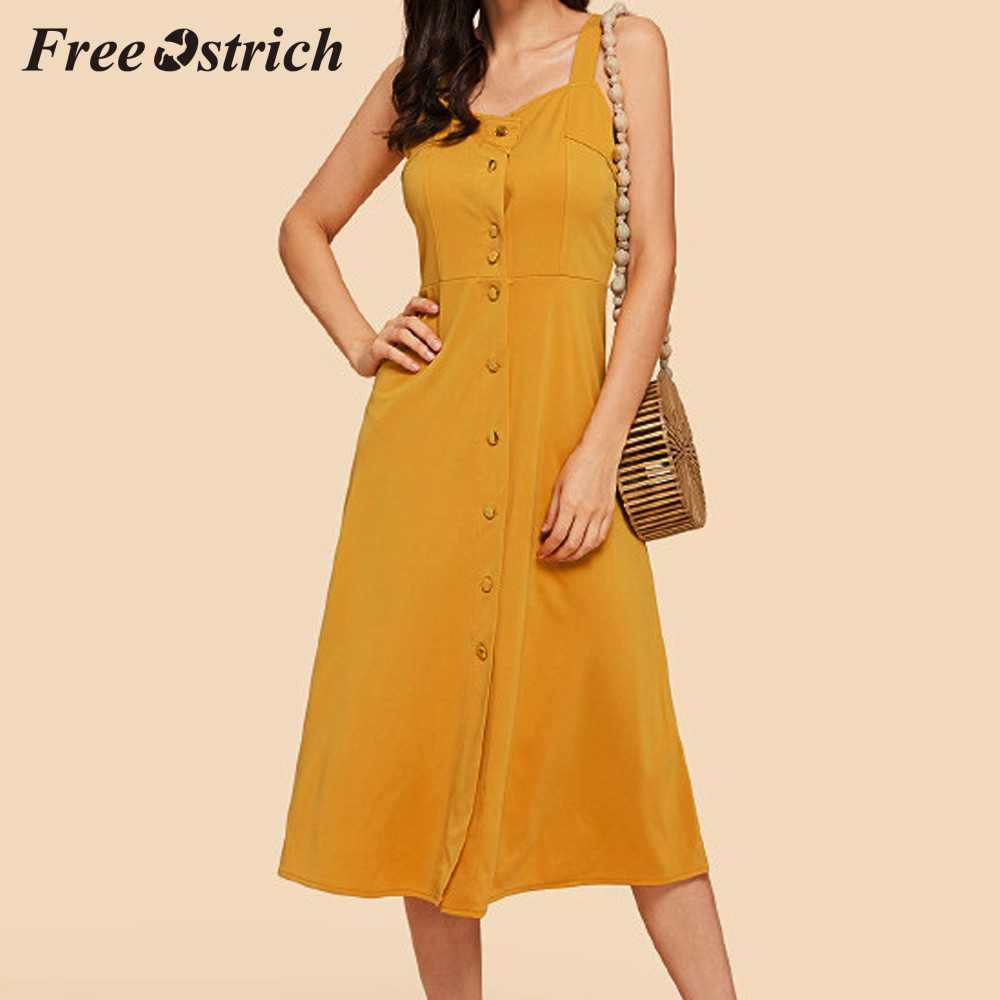 Free Ostrich 2019 Women Fashion Sleeveless Spaghetti Strap Button Dress Simple Empire Defined Waist Slim Solid Dress For Women