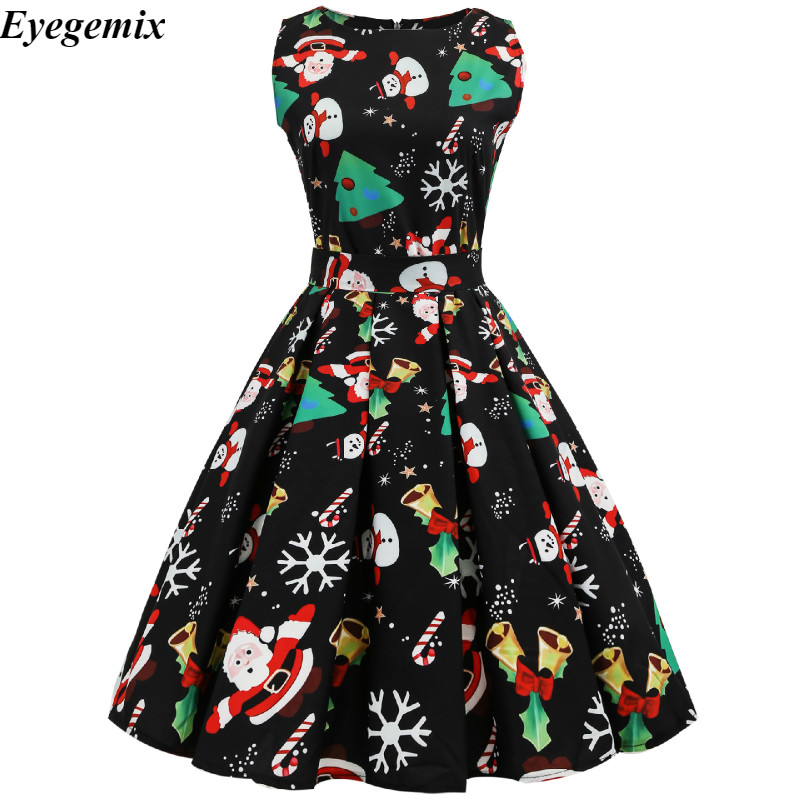86643586bfde7 Aliexpress.com : Buy New Arrival 2019 Fashion Elegant Women Clothing Casual  Christmas Print Dresses A Line 50S 60S Vintage Dress Vestidos Plus Size  from ...