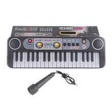 Musical Instruments Toys With Microphone Learning Educational Toys For Children Beginners Gifts Mini 37 Keys Electone Keyboard(China)