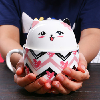 Lovely Cat Shaped Porcelain Cup with Spoon
