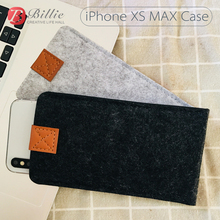 Bolsa de lana de fieltro para teléfono móvil, funda para iPhone XS, hecha a mano, 6,5 pulgadas, gris