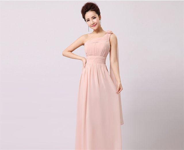 Online Shop Blush Pink Bridesmaid Dress Long Chiffon Sexy Sweetheart ...