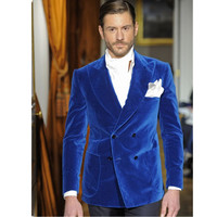 Fashion Bespoke Men Suit Set For Wedding Prom Dinner (Jacket+Pants) Blue Velvet Mens Suits Groom Best Man Blazers Costume Homme