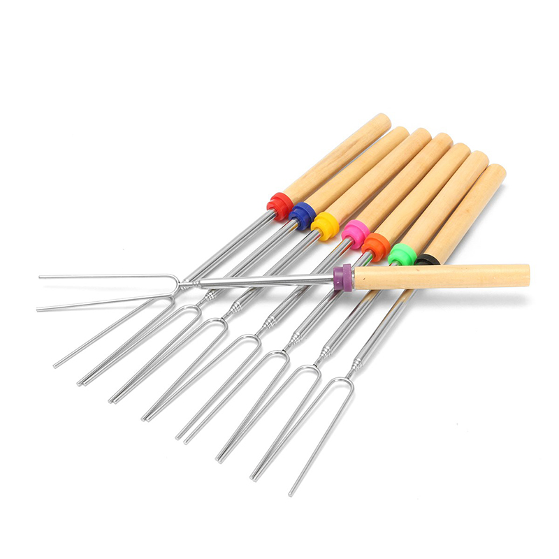 8pcs/set Barbecue Fork Stainless Steel Camping Wooden Handle barbecue needle Extensible Roasting Skewers Grill Accessories