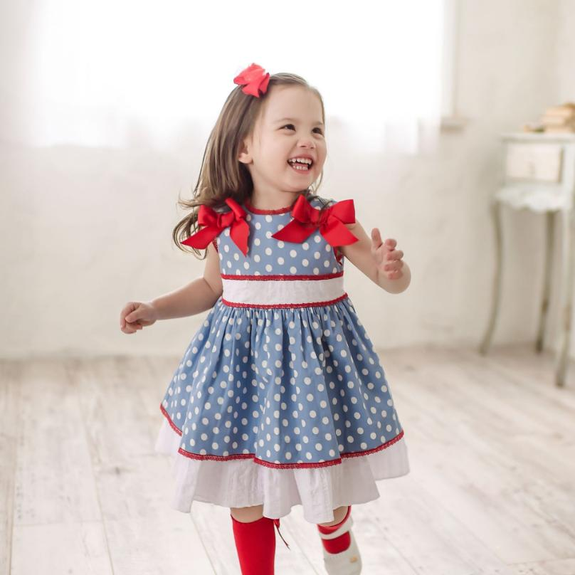 2019 Summer Spanish Vintage girl dress Lolita Dot Princess Dress Bow sleeveless cotton Dress Modis Kids clothes Vestidos Y1489