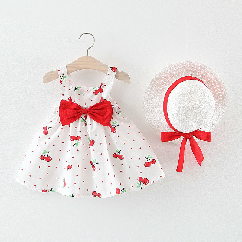 Baby Dress Newborn Toddler Girls Summer Tutu Dress Kids Baby Girl Printing Princess Dresses Sundress Hats 2PCS Clothing 40(China)