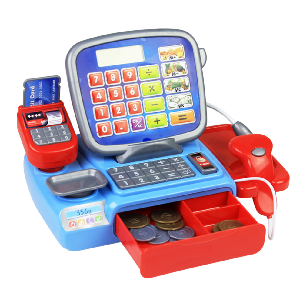 New Cash Register with Scanner Weighing Scale Electronic Educational Toy Multi-functional Play Toy For Kid Real Calculator Toys pretend play cash register toys for girl multi functional kids plastic cash register cashier toy calculator microphone scanner