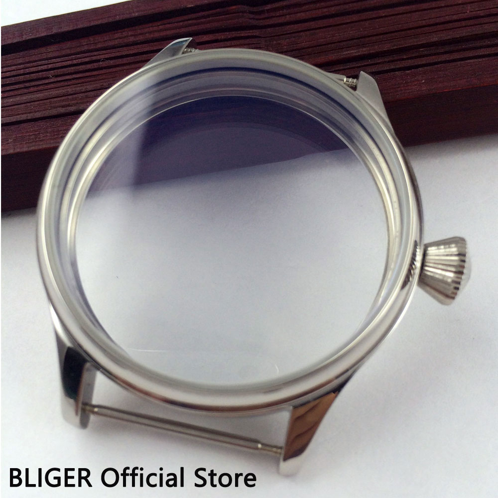 BLIGER 44MM Stainless Steel Sterile Watch Case Fit For ETA 6497 6498 Hand Winding Movement C31 44mm polished stainless steel watch case with coin bezel fit for eta 6497 6498 hand winding movement c6