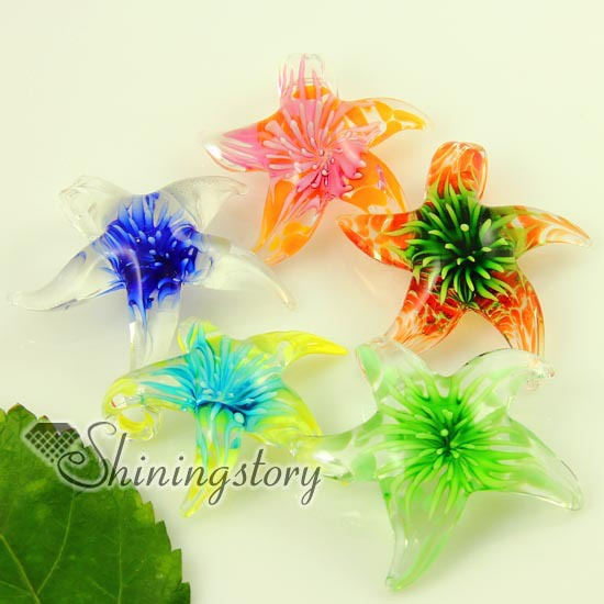Italian starfish flower venetian lampwork blown murano glass pendants for necklaces jewelry colored cheap fashion jewellery